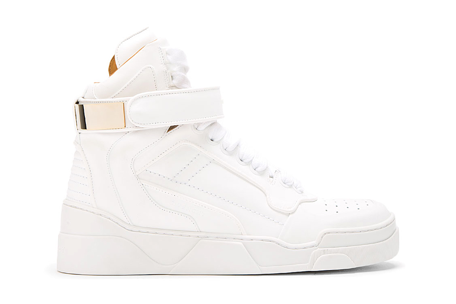 Givenchy White Leather Gold-Plated High Top Sneakers