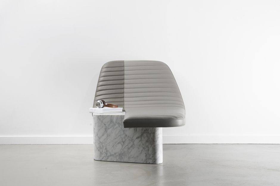 gregoire de lafforest leather marble lounge chair