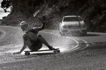 """Silver Slipstream"" Short Film Races Mercedes A45 AMG Against Downhill Skateboarder"