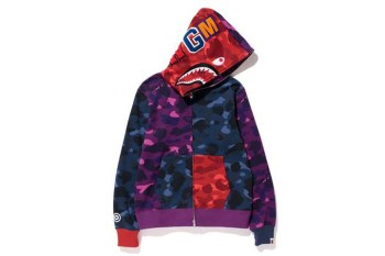 "A Bathing Ape 2013 Fall/Winter ""Color Camo Crazy"" SHARK FULL ZIP HOODIE"