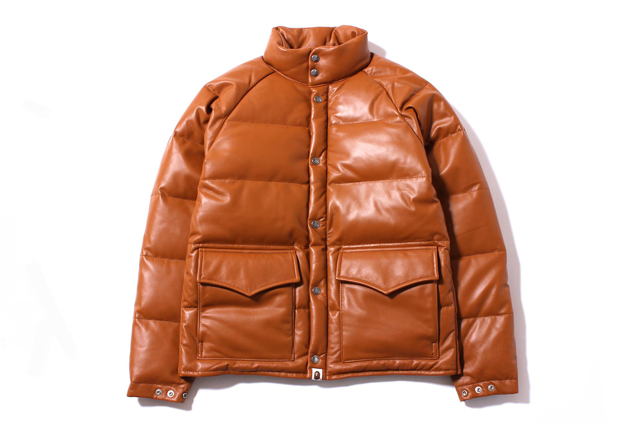 a bathing ape 2013 fallwinter leather classic down jacket