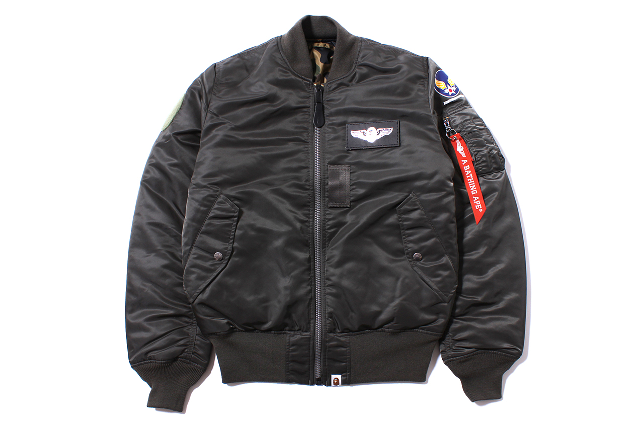 a bathing ape x alpha industries ma 1 tight fit bomber jacket