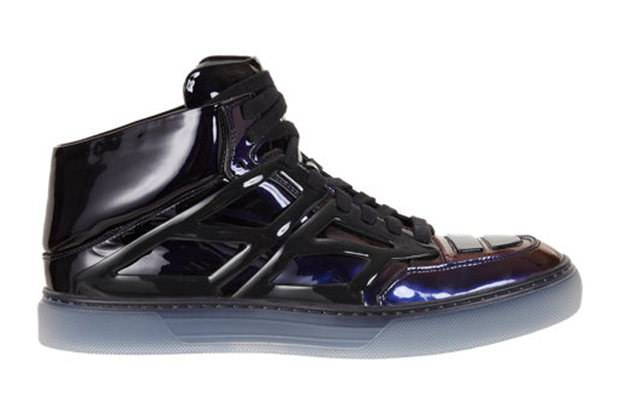 "Alejandro Ingelmo Black Patent Ombre Mid-Top ""Tron"" Sneakers"