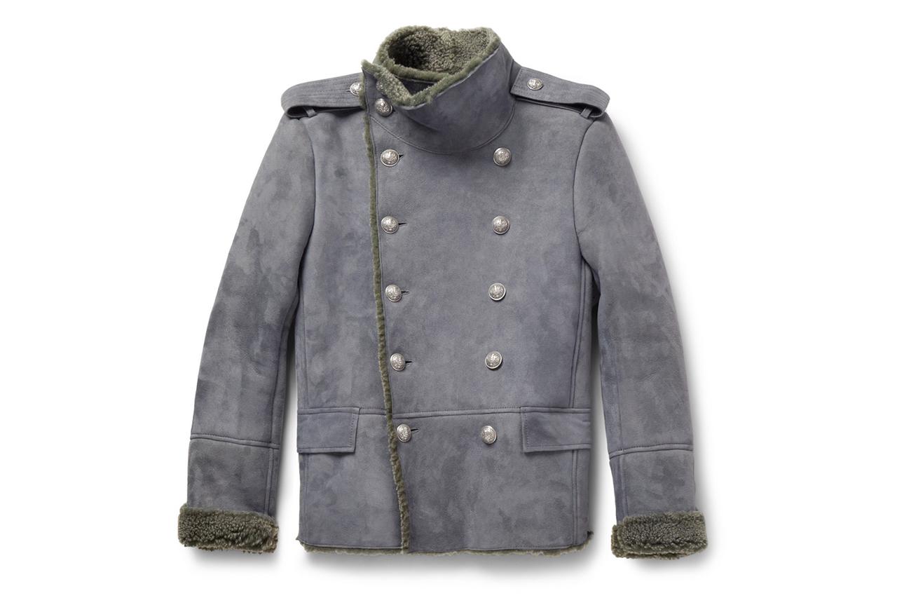 Balmain Shearling Pea Coat