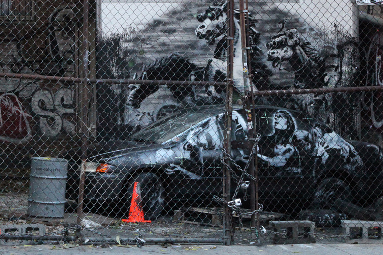 """Banksy's 'Crazy Horse' On the Lower East Side for """"Better Out Than In"""""""