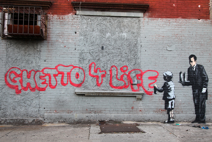 "Banksy's 'Ghetto 4 Life' for ""Better Out Than In"""