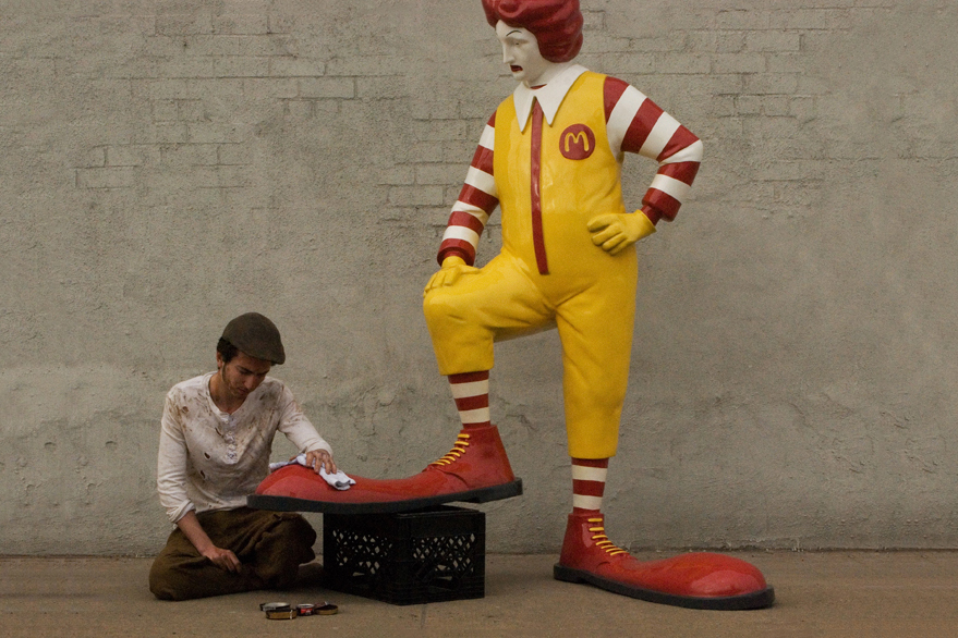 banksys ronald mcdonald sculpture for better out than in