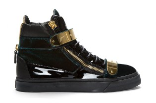 Giuseppe Zanotti Green Velvet High Top Sneakers SSENSE Exclusive