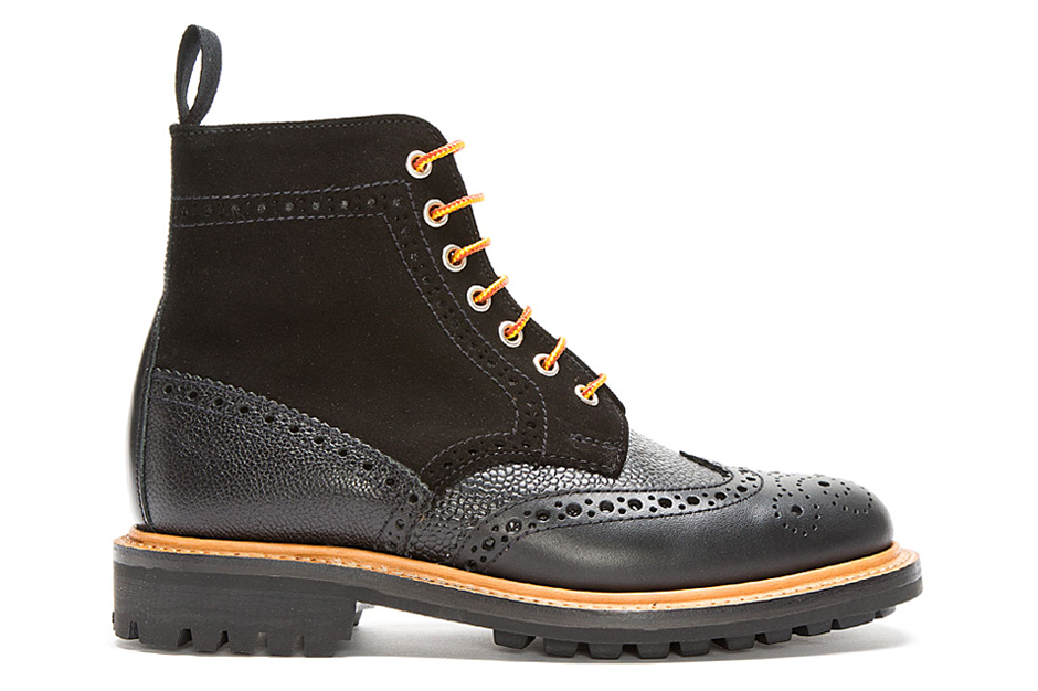 Mark McNairy New Amsterdam Black Leather & Suede Crazy C Brogue Boots