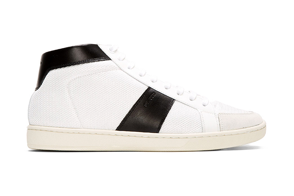 Saint Laurent White Leather-Trimmed Mid-Top Sneakers