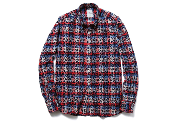 uniform experiment Leopard Over Print Flannel B.D Shirt