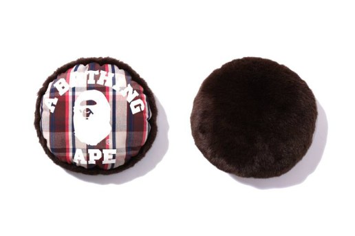 A Bathing Ape BAPE® CHECK FUR CUSHION