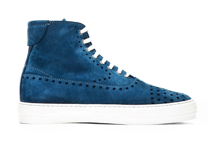 Alexander McQueen Blue Suede Perforated High-Top Sneakers