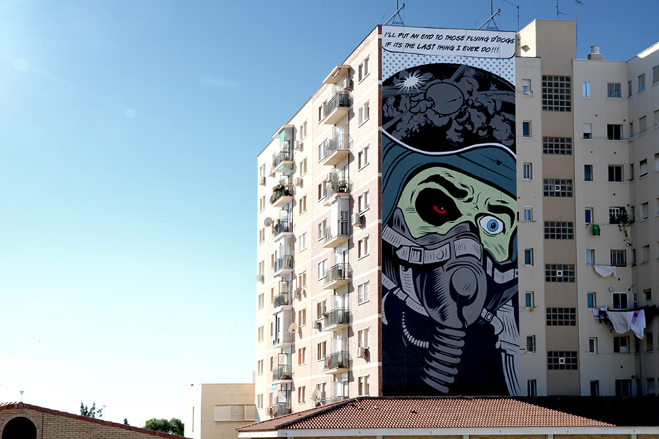 shepard fairey dface mural in spain