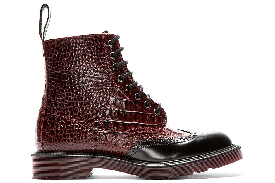 Dr. Martens Burgundy Crocodile Brogued Wingtip Calder Boot