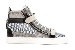 Giuseppe Zanotti Patent Leather Mesh-Print High-Tops Black/White
