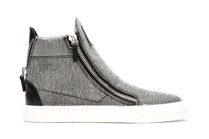Giuseppe Zanotti Stingray Print High-Top Sneakers Grey Sparkle
