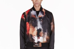 Givenchy Black Digital Doberman Print Bomber Jacket