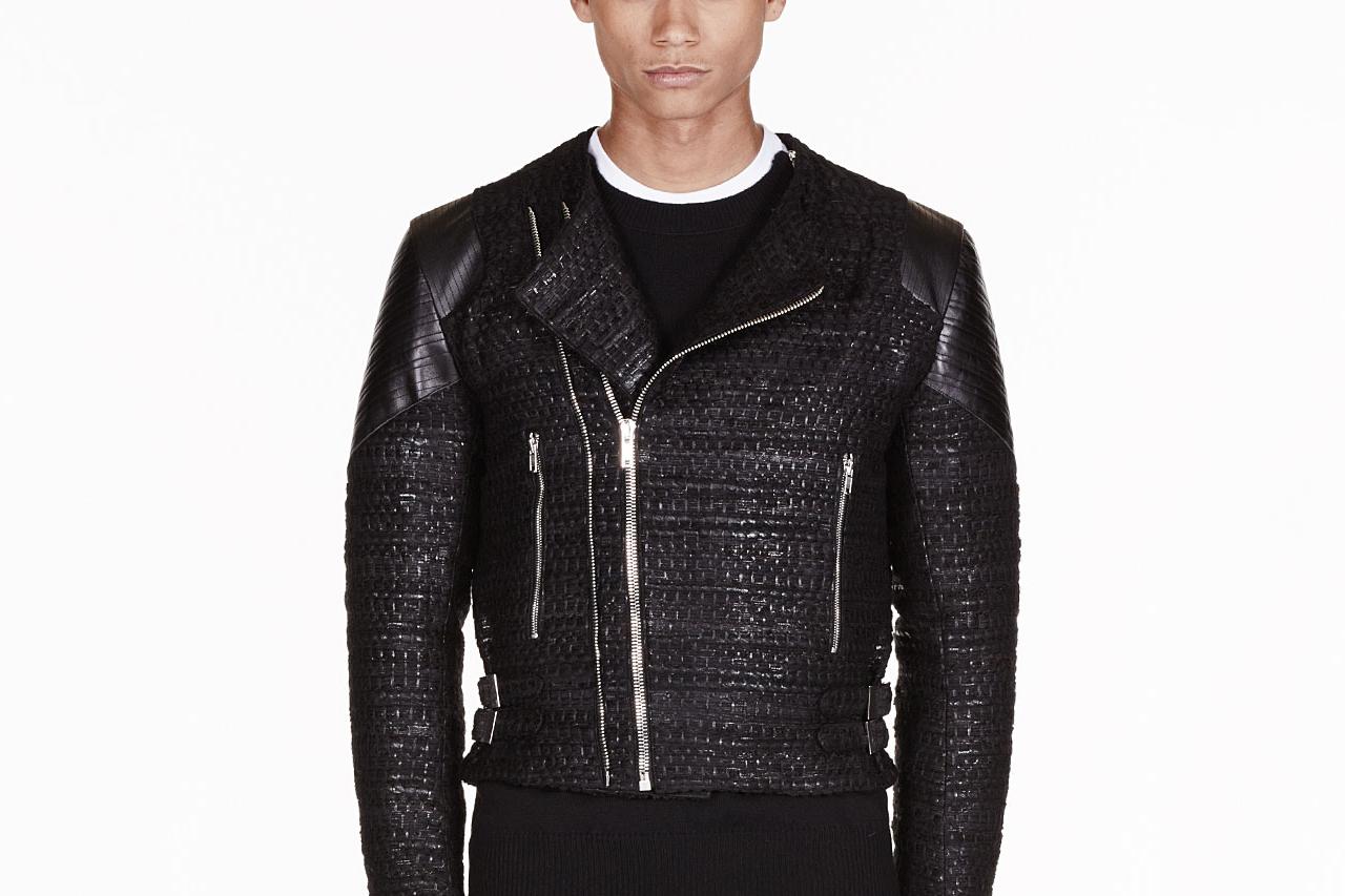 Givenchy Black Tweed Leather Trimmed Biker Jacket
