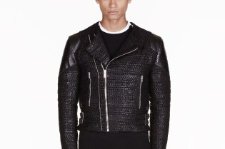 Givenchy Black Tweed Leather Trimmed Biker Jacket