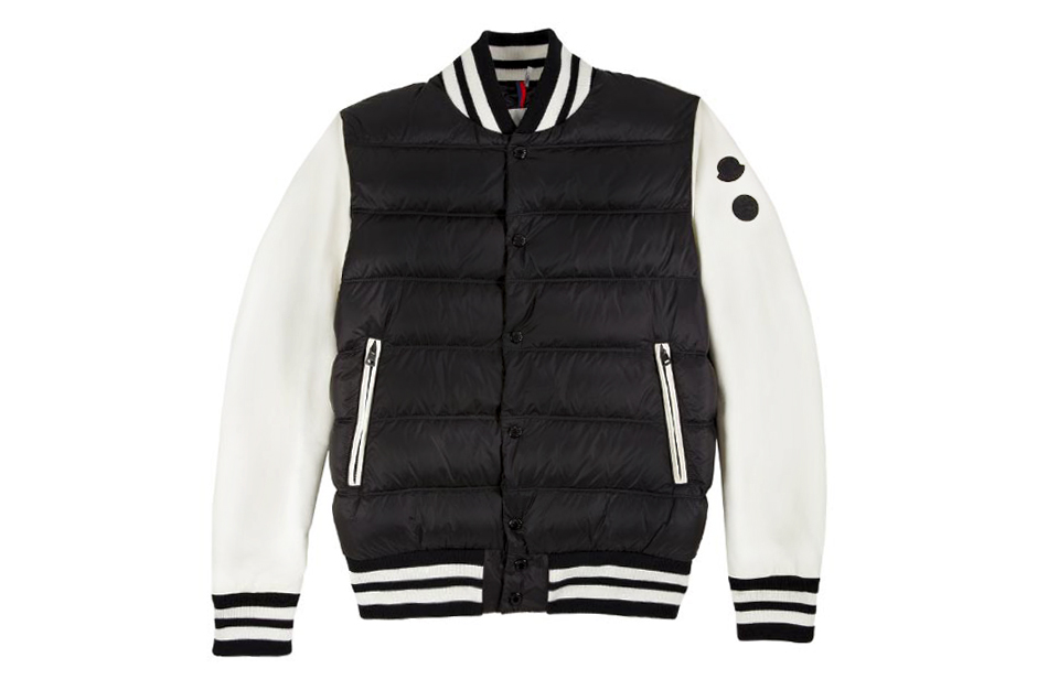 monclers leather sleeve varsity jacket for barneys jay zs a new york holiday