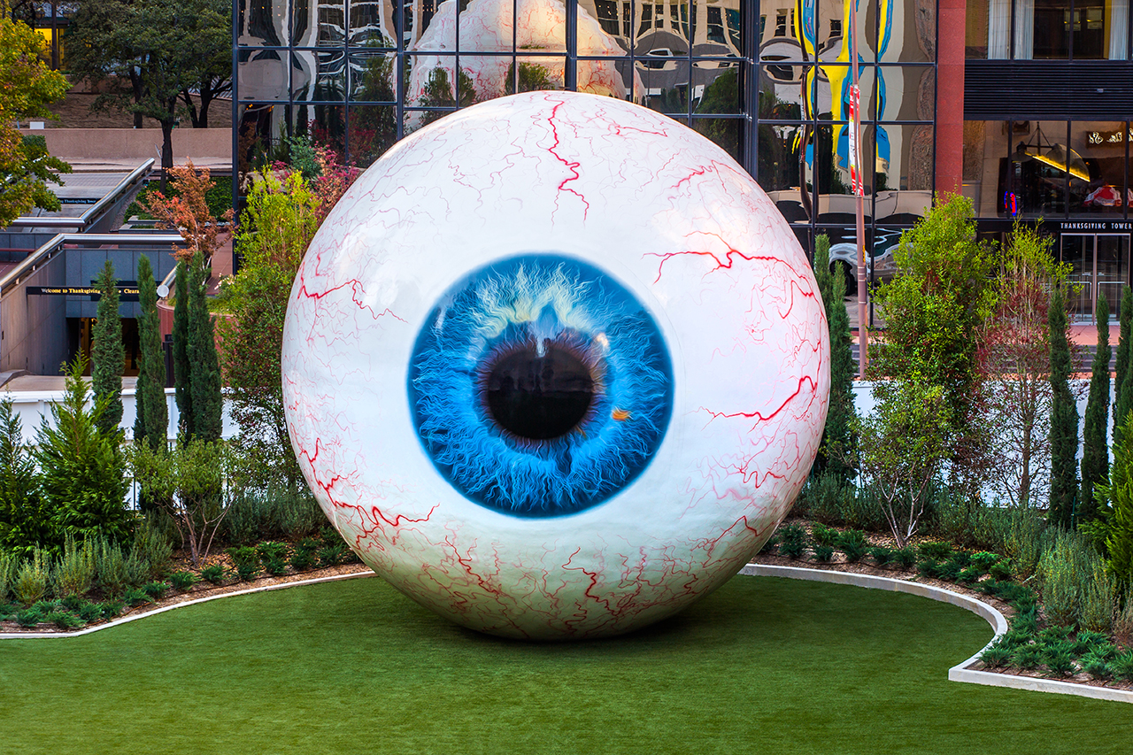 tony tassets latest sculpture is a 30 foot eye for the joule hotel in dallas