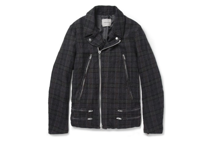UNDERCOVER Plaid Wool Biker Jacket