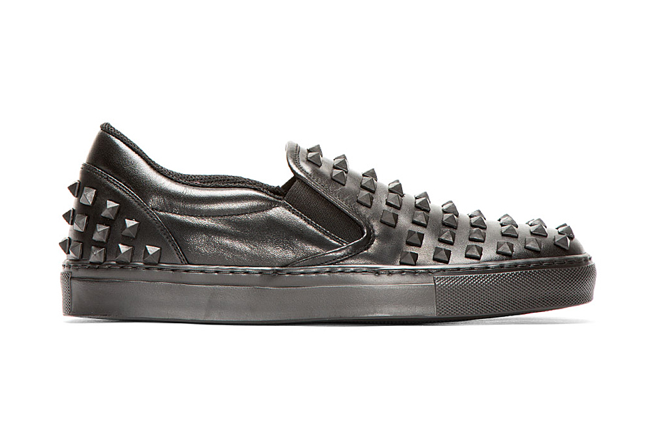 Valentino Black Leather Rubber Stud Loafers