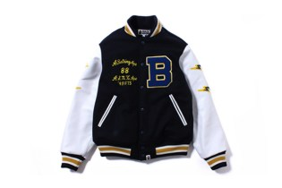 A Bathing Ape Leather Sleeve Varsity Jacket
