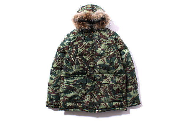 A Bathing Ape LIZARD CAMO HOODIE DOWN JACKET