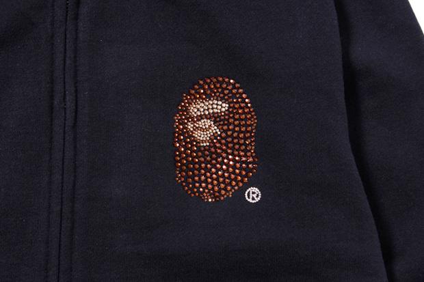 A Bathing Ape Swarovski LARGE HEAD FULL ZIP HOODIE
