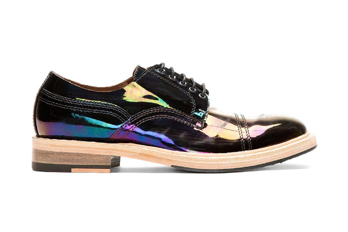 Acne Studios Black Iridescent Patent Oil Slick Derbys