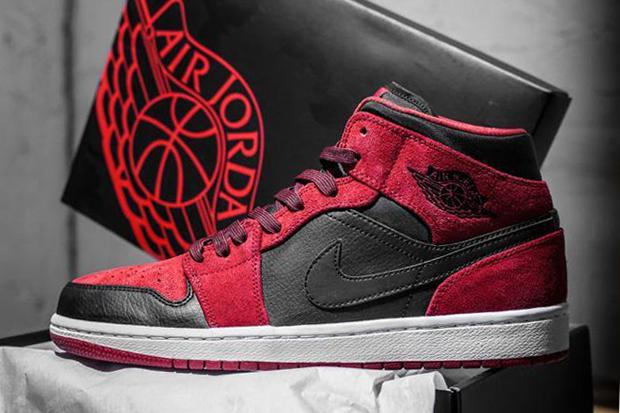 Air Jordan 1 Mid Red Suede/Black