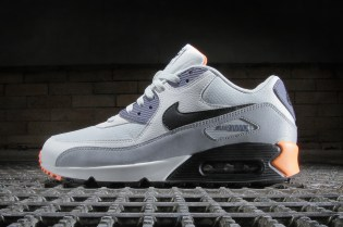 Nike Air Max 90 Essential Light Base Grey / Black–Iron Purple–Atomic Orange
