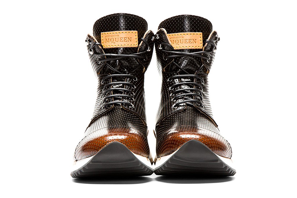 alexander mcqueen punch hole high top sneakers black