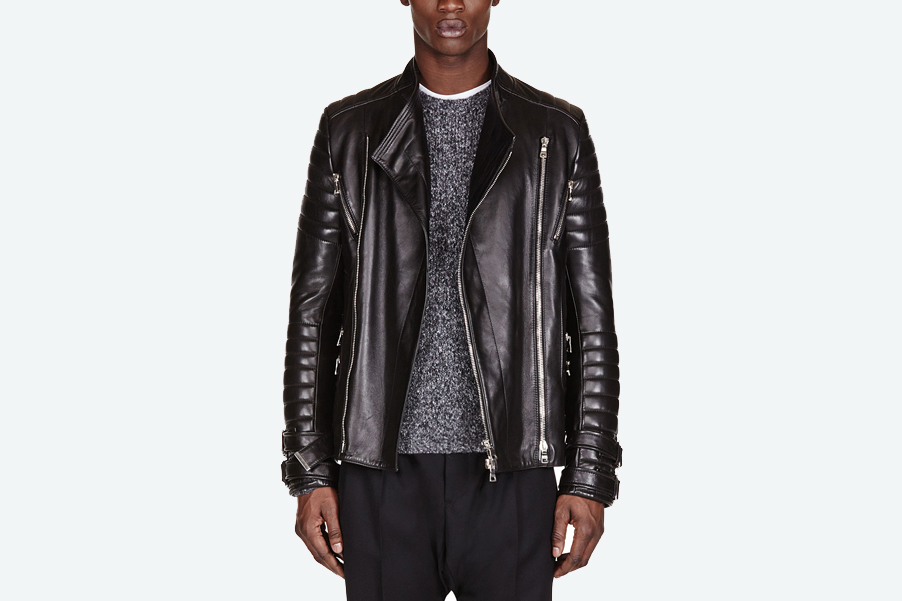Balmain Black Leather Ribbed Biker Jacket