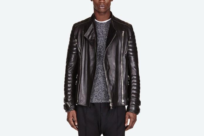 Balmain Black Leather Ribbed Biker Jacket