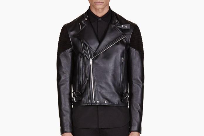 Givenchy Black Ribbed Leather Biker Jacket