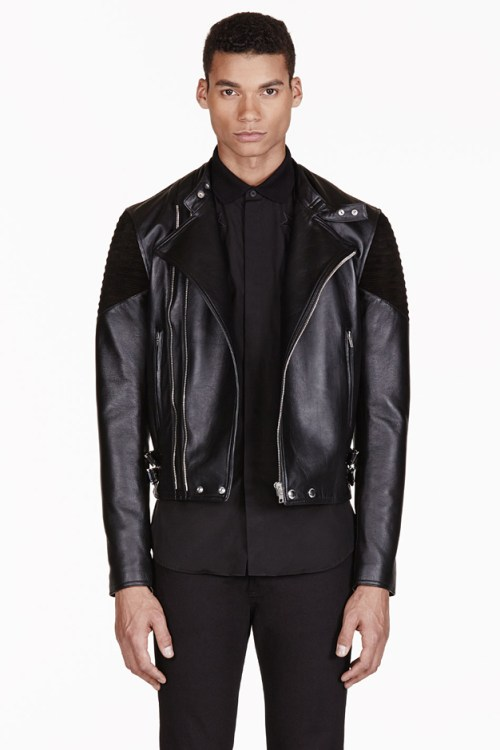 Givenchy Black Ribbed Leather Biker Jacket