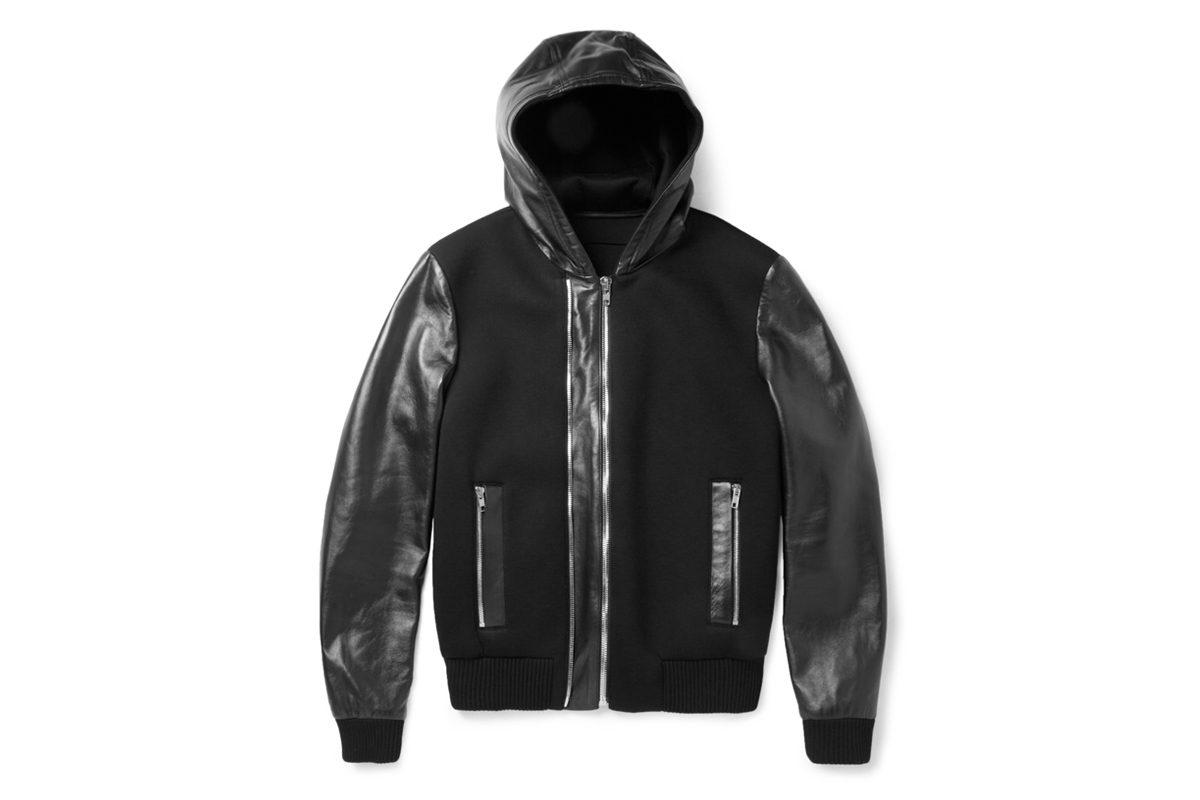 Givenchy Leather and Neoprene Bomber Jacket
