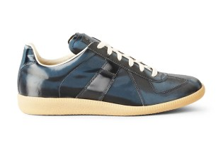 Maison Martin Margiela Navy Metallic Leather Replica Sneakers