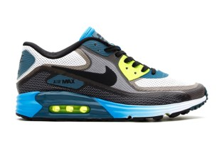 Nike 2014 Spring Air Max Lunar90 Light Grey/Black/Vivid Blue-Volt