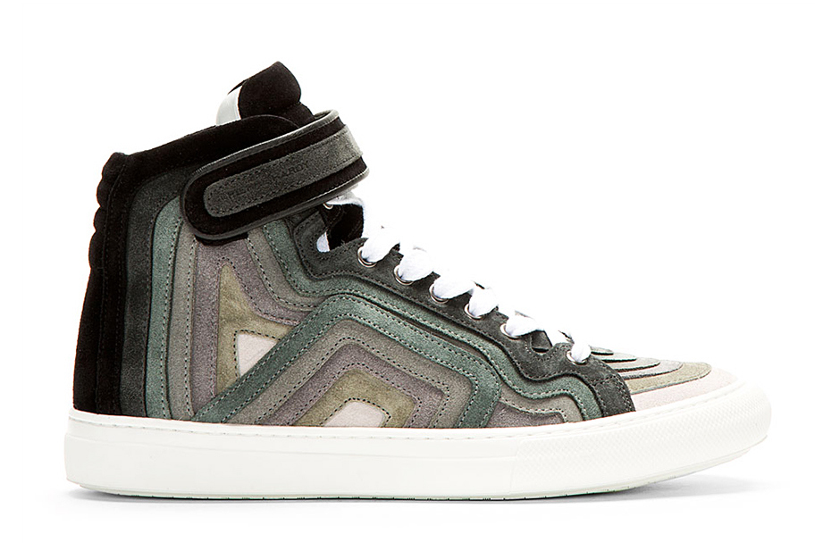 Pierre Hardy Grey Rainbow Banded High-Top Sneakers