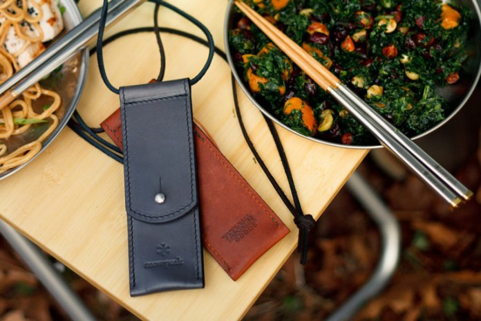 Snow Peak x Tanner Goods Carry-On Chopsticks with a Horween Chromexcel Case