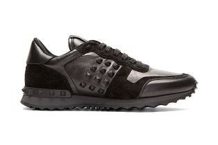Valentino Black Leather and Suede Studded Sneakers