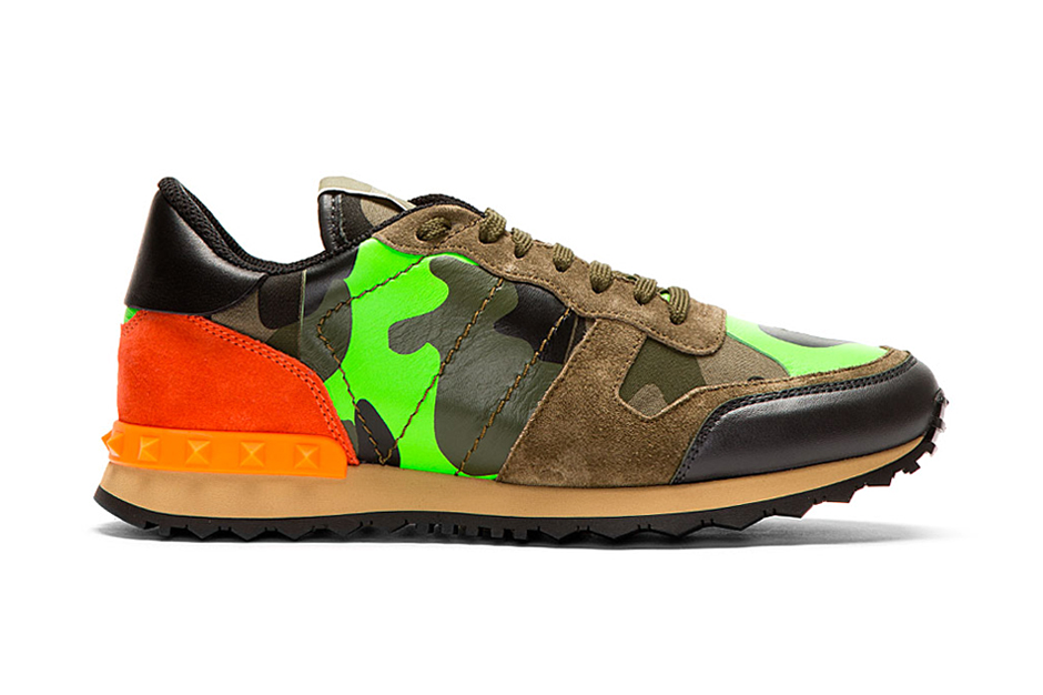 valentino green camo leather and suede studded sneakers