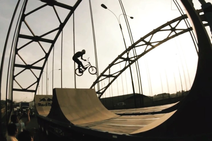 Daniel Dhers Rides a Ramp on a Moving Trailer in Peru