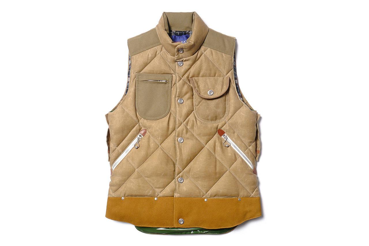 junya watanabe man x duvetica marsia cotton moleskin paraffin down feather vest