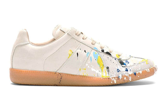 Maison Martin Margiela Light Grey Paint Splatter Replica Sneakers