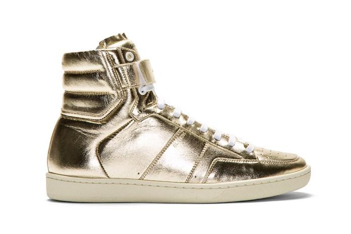 Saint Laurent Gold Lamé Leather High-Top Sneaker